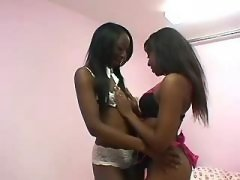 Blonde black lesbian plays with her pussy black lesbian porn