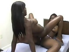 Busty chick caresses pussy on floor black lesbian porn